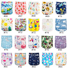 1PC Diaper Nappy +1PC Microfiber Insert 3 Layers Absorb Pad Waterproof Pocket Cloth Diaper Reusable Nappy Covers Lots Of Prints(China)