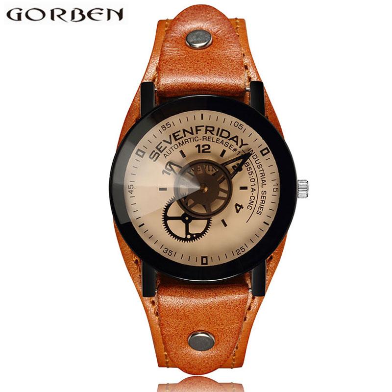 Unique Design Industrial Gear Dial Creative Watches Vintage Steampunk Wrist Watch Women Men Luxury Top Brand Lovers Couple Watch