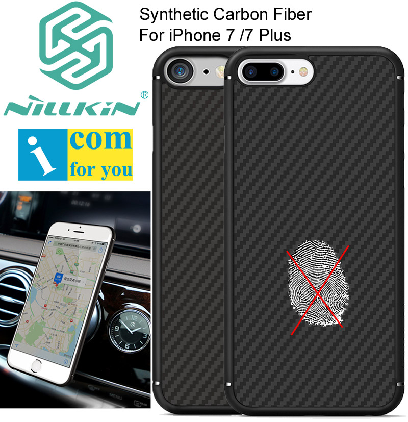 imágenes para Nillkin caso de la cubierta de fibra de carbono sintético para iphone 7/7 plus ultra thin pc shell para iphone7