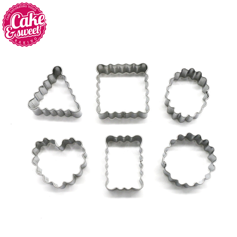 6 pcs / set Stainless Steel Chocolate Cookie Cutters Permen Biskuit Kue Alat Fondant Pastry Alat