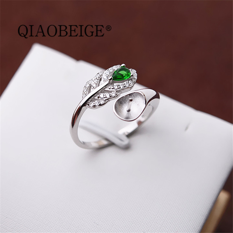 QIAOBEIGE Silver 925 Fashion luxury Wedding Rings for Women Adjustable Pearl Ring Mounting 925 Sterling Silver diy making
