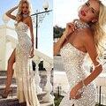 Sexy Vestidos de Baile Vestidos Para Festa 2016 Champagne Gasa Fuera Del Hombro Vestido de Sirena de Cristal de Alta Hendidura Vestido de Fiesta