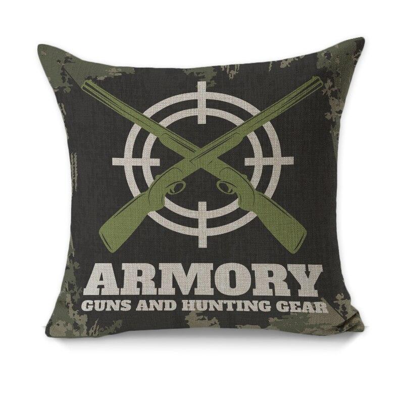 Rubihome Creative Decorative Pillow Cushion Cover Throw Polyester Fabric Home Decor Hunting Armory Fishing Gun Knife Design