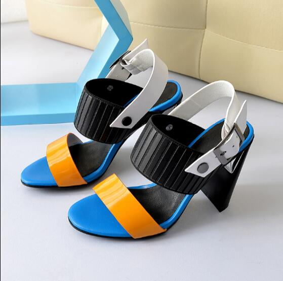 ФОТО Zapatos mujer high heel sandals women shoes with heels open toe buckle strap slingbacks Summer footwear blue orange-red black