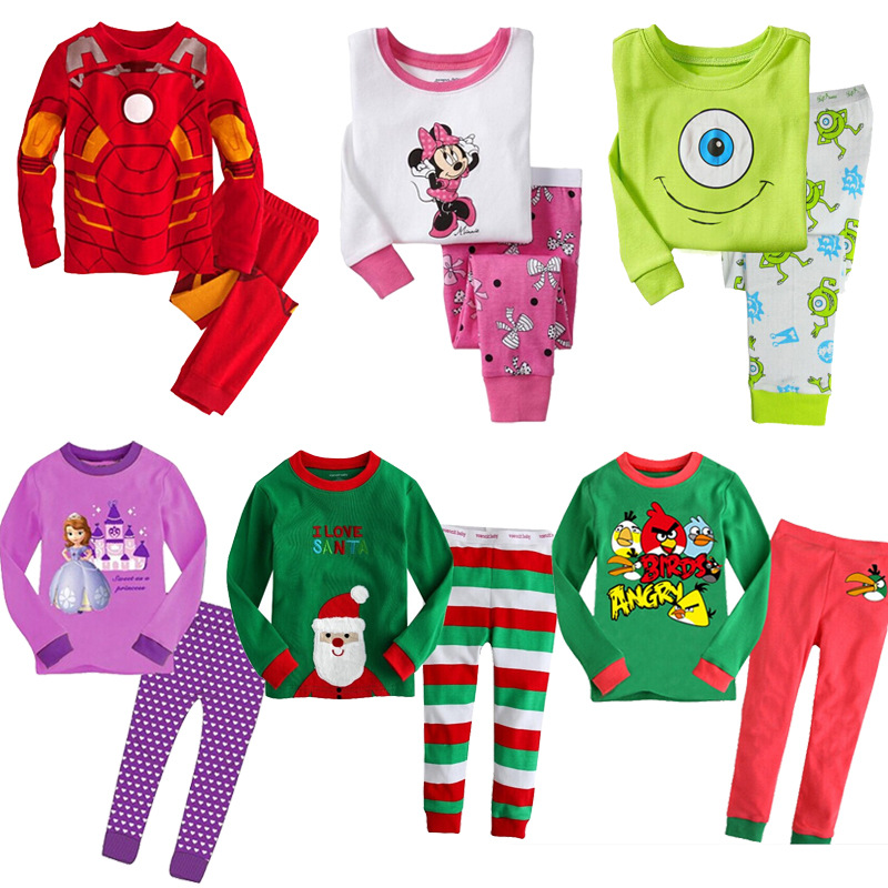 a731b009db 100% Cotton Kids Pajamas 6 Kinds Of Cartoon Clothes Baby Boys Girls Home Wear  Sleeping Clothing Iron Man Father Christmas 2-7yrs