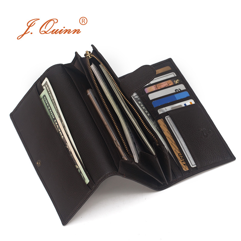 J.Quinn Waller Hand-stained Italian Leather Womens Purse Trifold Wallets Zipper Credit Card Coin Genuine Luxury Womens Wallet