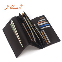 J Quinn Walet Women Wallets Genuine Leather Luxury Long Card Holder Womens Wallet Handmade Gray Blue