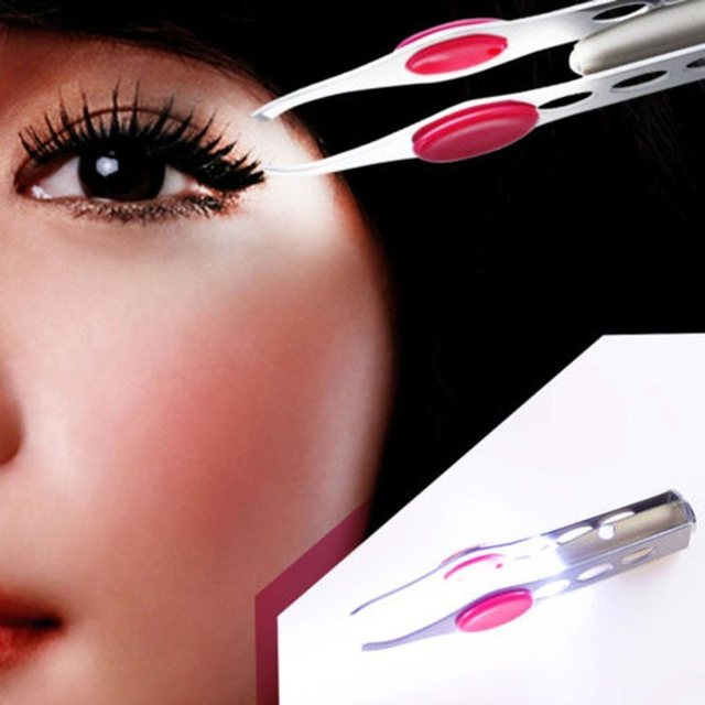 With LED Lamp Clip Eyebrow Tweezers Eyebrow Makeup Beauty Tools Hair Removal Clamp  Mini Light Delicate Eyebrow Trimming 2