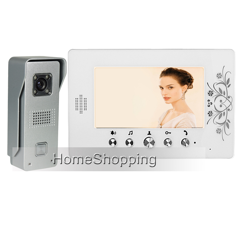 FREE SHIPPING Wired 7 TFT Color Video Door phone Intercom System + 1 White Monitor + 1 Metal Waterproof Door Camera IN STOCK