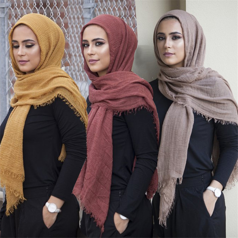 2019 Novelty Crinkle Hijab Cotton Linen Muslim Woman Shawls Turban Islamic Clothing Head Wrap Instant Foulard Headwear Scarf