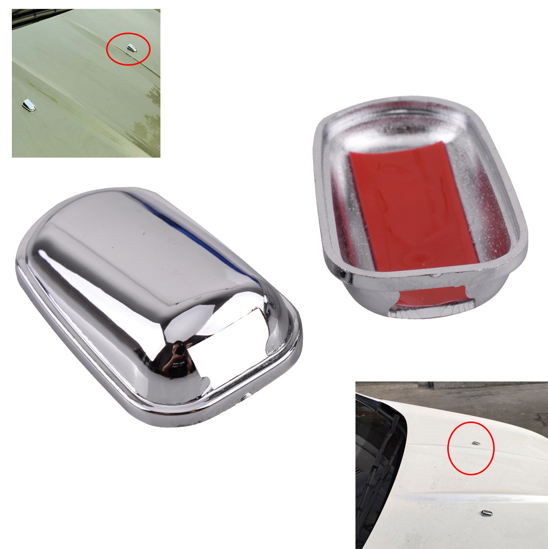 beler 2pcs Windscreen Washer Wiper Water Cover Spray Nozzle Chrome Plated Trim Sticker Fit for Ford Kuga Escape image