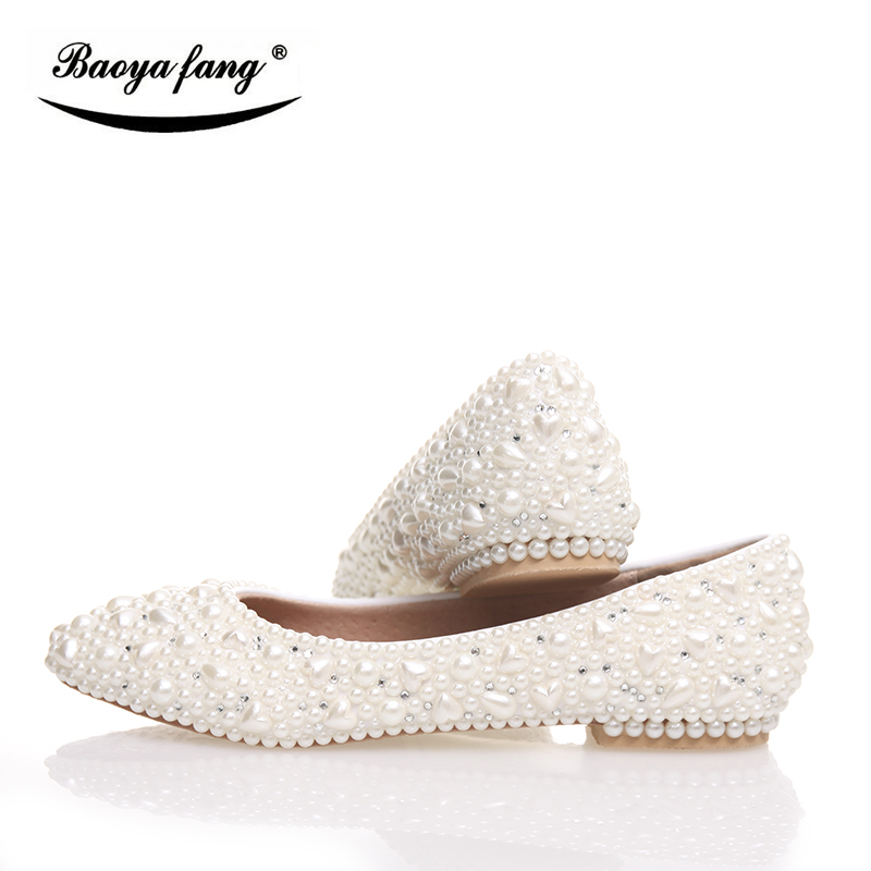 BaoYaFang White pearl Crystal womens wedding shoes Flat big size female shoes real leather insole woman shoes Bridal party shoes