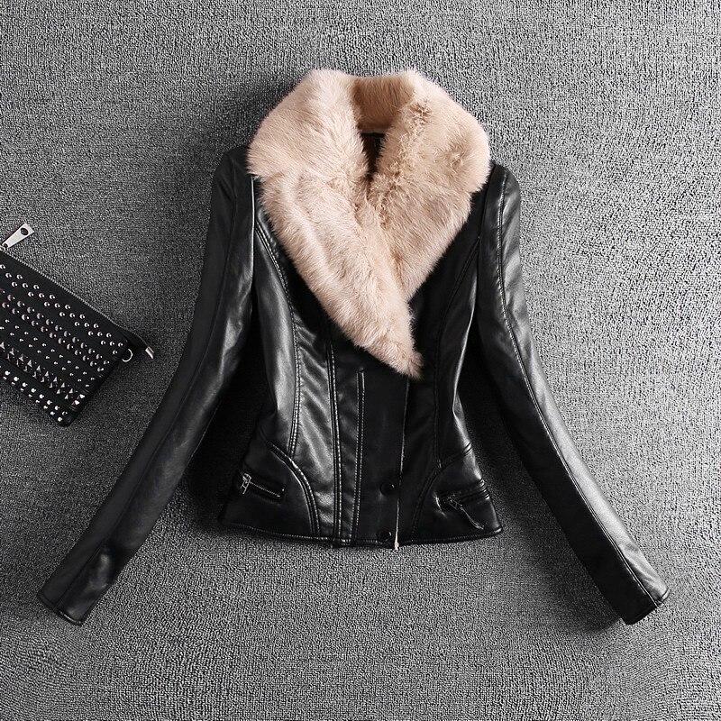 Femme 2018 Nouveau Design Hiver PU Veste En Cuir Faux Cuir Souple Manteau  Mince Noir Zipper Moto Vestes Lapin Poilu Col dans En cuir et Suède de Mode  Femme ... cef113112bc