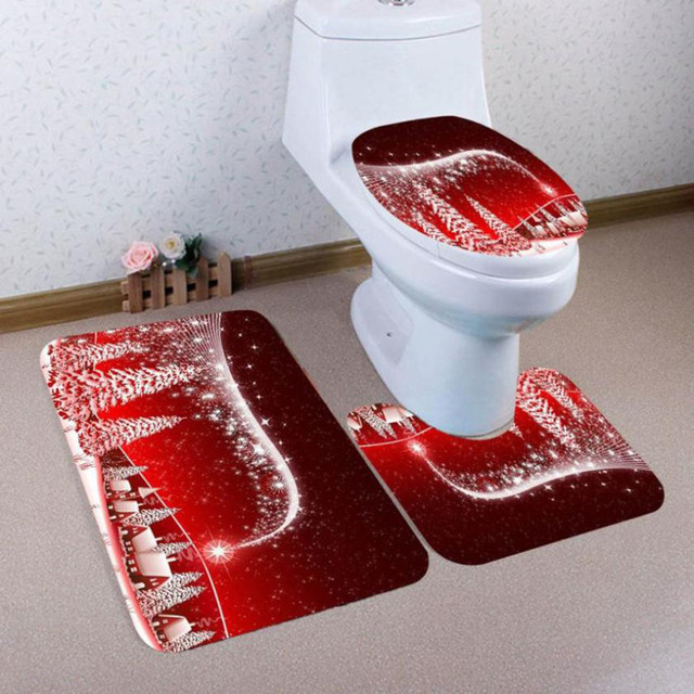 3pcs Red Bath Mats Christmas Style Anti Slip Toilet Pattern Carpet