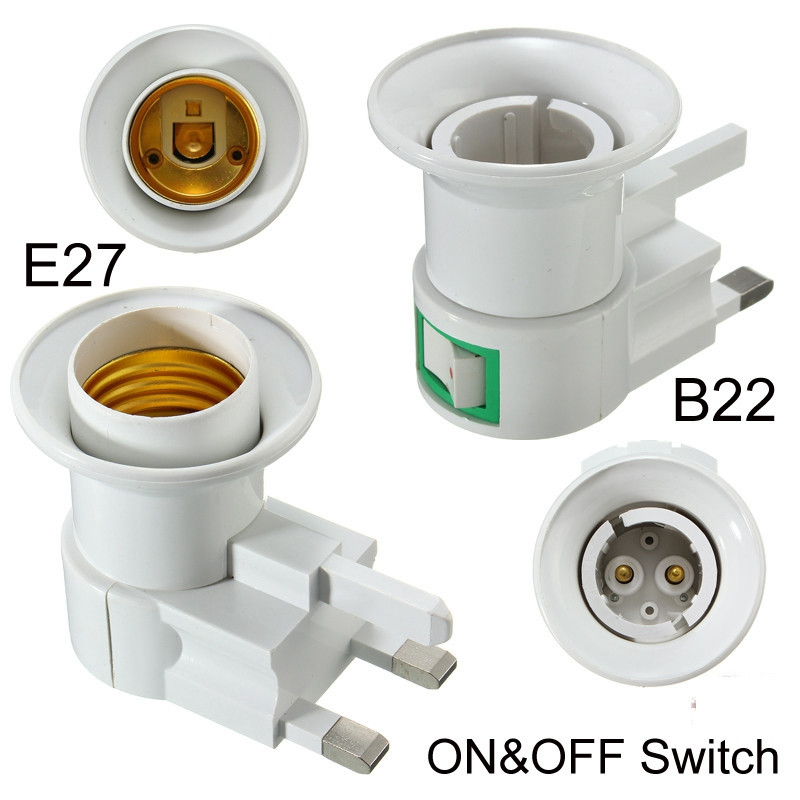 UK Plug E27/B22 Lamp Base Wall Screw Light Bulb Lamp Socket Holder Adapter Converter 110-240V With ON/OFF Switch