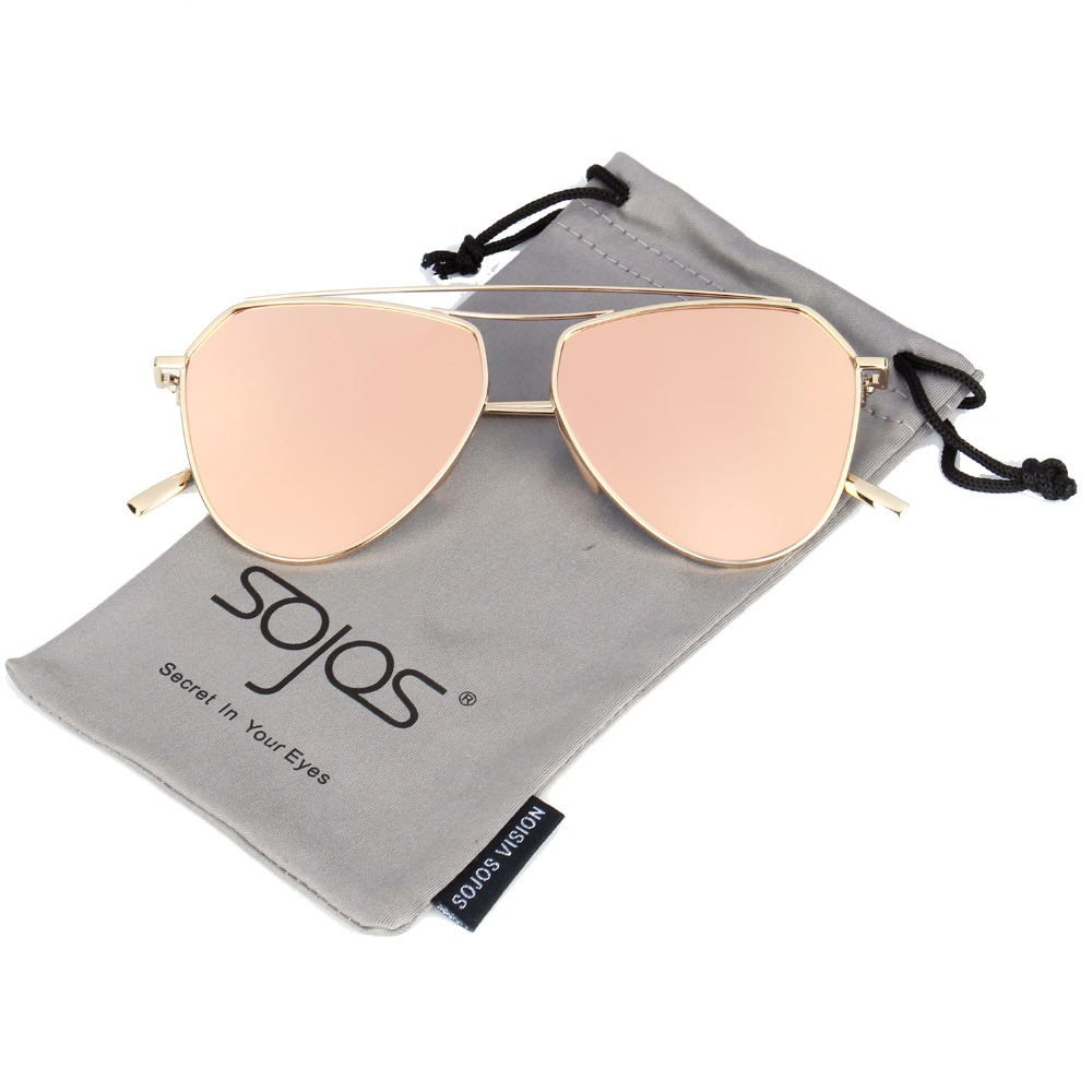 84839a5729a SOJOS stylish high quality pilot sunglasses twin-beams for women brand  designer Alloy Frame Mirror
