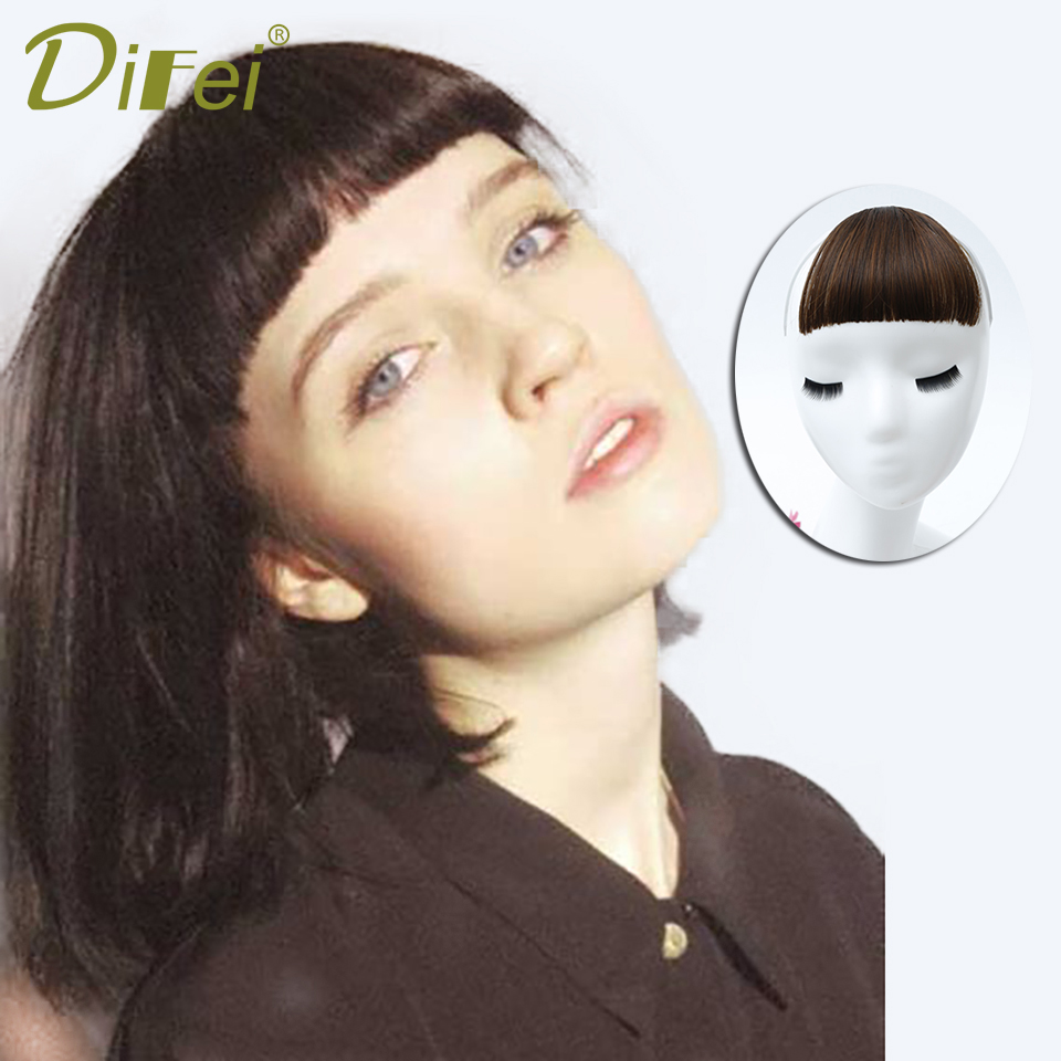 DIFEI Blunt Bangs Clip Hairpiece Black Brown Synthetic Bangss