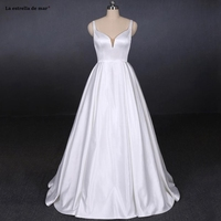 Vestido de casamento2019 new lace satin sexy V neck A Line white wedding dresses long beach wedding dress real photo amanda novi