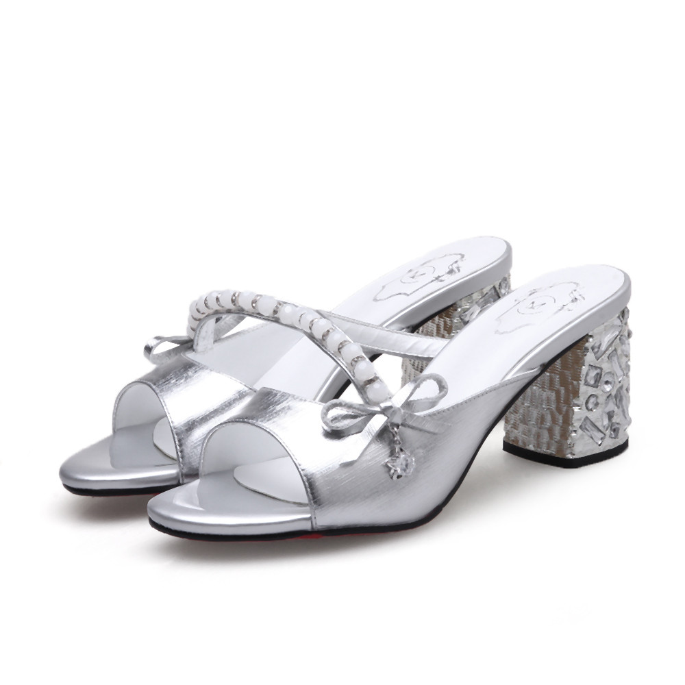 Talon De Hauts Toe Dames Bleu Pantoufles silver Femmes Élégantes Masgulahe D'été Carré Chaussures Cristal Talons Argent Bleu Peep Mode lKcTF1J
