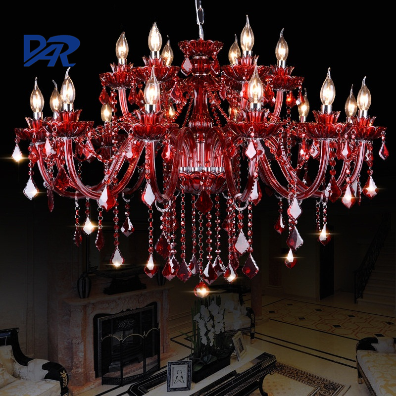 European Luxury K9 Red Crystal Chandeliers For Dining Living Room Lustres Cristal Led Chandelier Lighting Lamparas De Techo Lamp