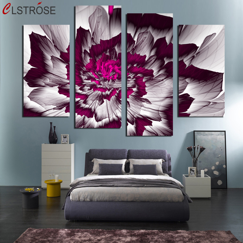 CLSTROSE Abstract Flower Canvas Painting 4 Pieces Wall Art Home Decor Print HD Posters For Living Room Modular Pictures Unframed