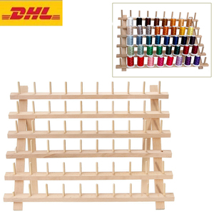 Image 3 - Foldable Wood Thread Stand Rack Holds Organizer Wall Mount 60 Spool Cone Embroidery Machine Sewing Storage Holder
