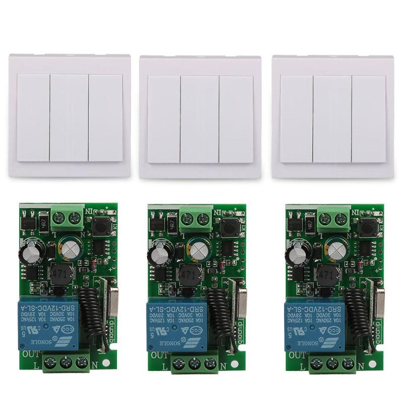 Wireless 3 Channel Wall Panel Light Transmitter 433MHz RF Remote Control Switch And 433 MHz AC 220V 1CH Relay Receiver Module ifree fc 368m 3 channel digital control switch white grey