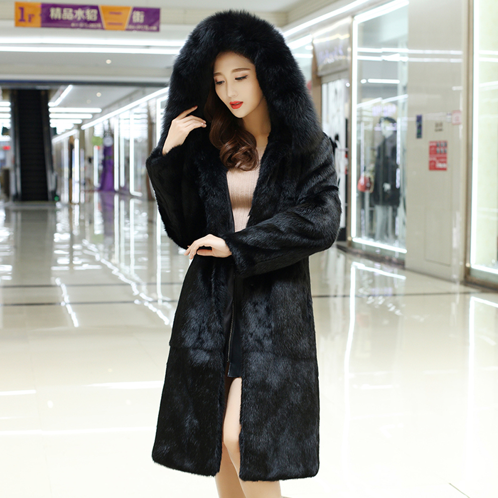 Women Hooded Full Pelt Rabbit Fur Long Coat With Fur Hood and Natural Fox Fur Collar