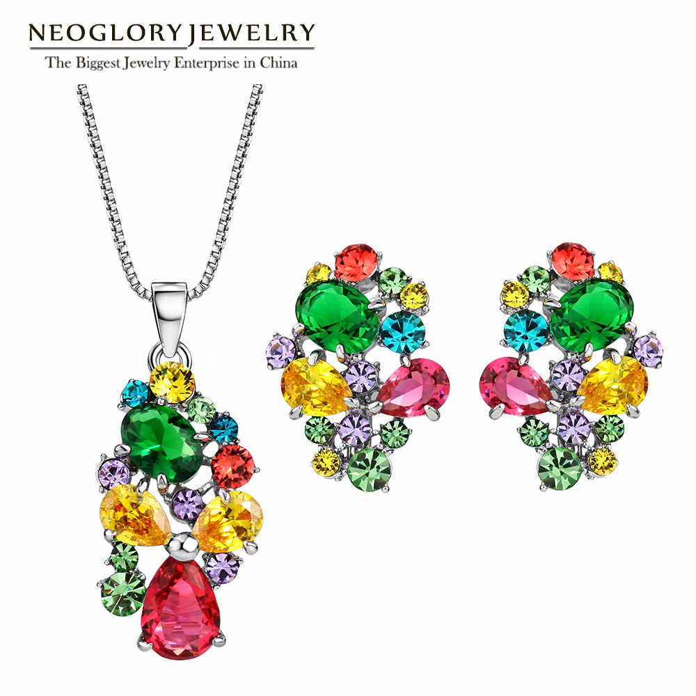 Neoglory Zinc Alloy Colorful Austrian Rhinestone Fashion Necklaces Earrings Jewelry Sets Wedding Charm 2017 New Indian Gifts