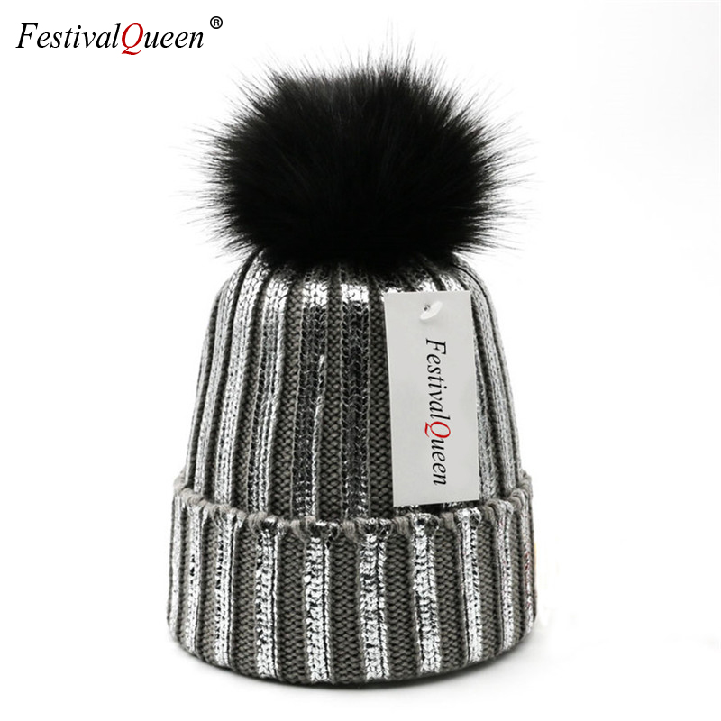 Multi Colors Bonnet   Skullies     Beanie   Fluffy Faux Fur Pompom Fashion Knitted   Beanies   Hat For Women Girl Thick Warm Ski   Skullies