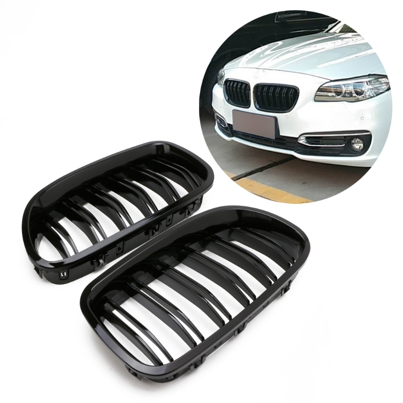 Gloss Black Kidney Grill Racing Grille Dual Line For BMW F10 F11 F18 5 Series M5 3pcs set m color front grill bumper cover trim decoration strip sticker for bmw 5 series f10 f11 2011 2013 f10 f18 2014 2015