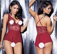 Summer Erotic Lingerie for Women Sexy Corset Nightdress Lace Porn Lenceria Deep V Underwear Temptation Cardigan Suit Hot Q105