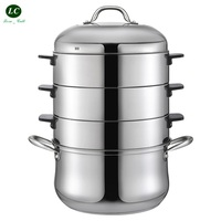 Stainless Steel steamer Double bottom 4 layer original 17 Litre pot Cooking Utensil Energy Saving steaming Steam Pot