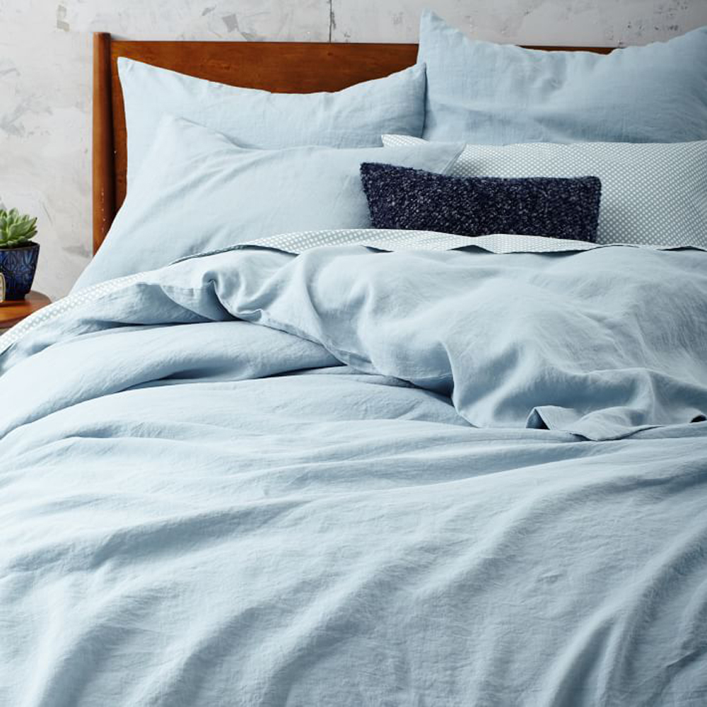 Blue Washed Pure Linen Duvet Cover Set King Size Flax