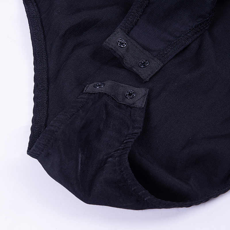 InstaHot/черные ошейники на пуговицах с отложным воротником, Женская Осенняя блузка с длинными рукавами, сексуальные комбинезоны 2018, элегантные модные официальные Топы