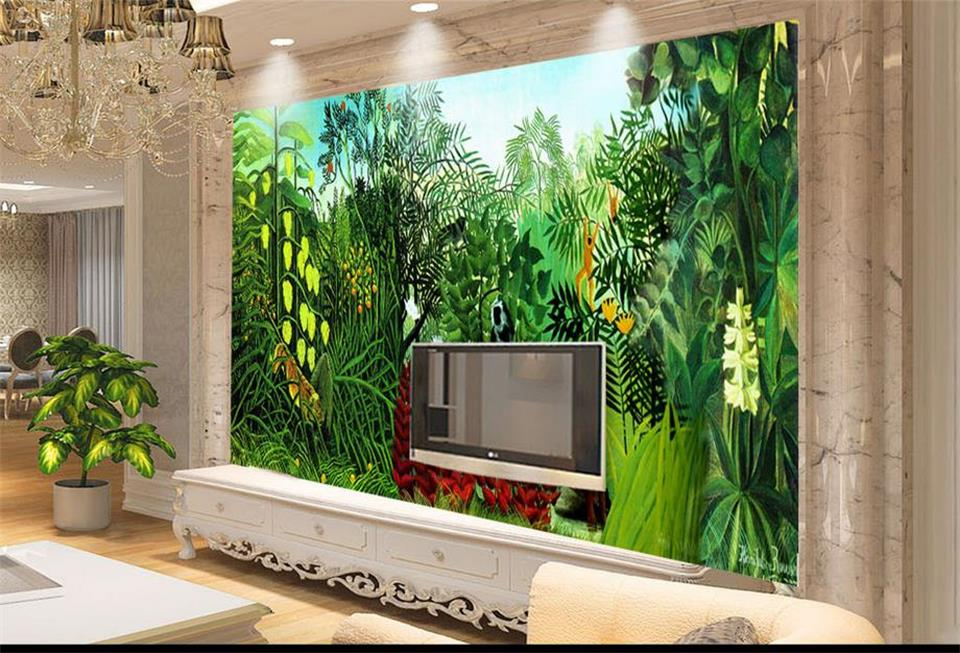 custom photo 3d wallpaper mural non-woven huge Rousseau's jungle background wall painting living room wallpaper for walls 3d 3d room wallpaer custom mural non woven photo natural scenery forest trees painting 3d wall murals wallpaper for walls 3d