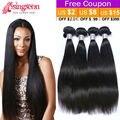 Queen hair products bruto brasileño de la virgen del pelo recto 4 bundles armadura brasileña del pelo recto extensiones de cabello humano