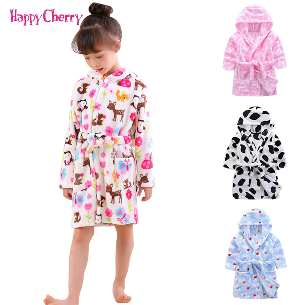 2018 Children's Robes For 3-7Yrs Flannel Baby Kids Pajamas Boys Girls Cartoon Sleepwear Bathrobes Kids Hooded Soft Baby Clothes