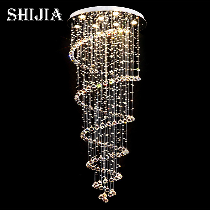D70CM Art Deco led Spiral Lustre Crystal Chandelier Light Fixtures Long Stair Light for Staircase Hotel Foyer Living Room