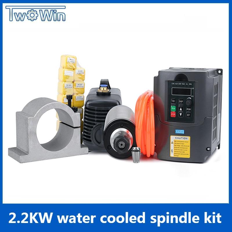 2 2kw spindle kit 220v 80mm 2200w CNC milling spindle motor 2 2kw inverter 80mm spindle