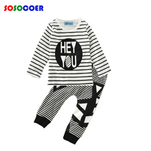 Baby Boy Clothing Set Brand Letter Hey You T Shirts+Pants 2pcs Toddler Boys Clothing Set 2017 Autumn Stripe Kids Clothes Outfits