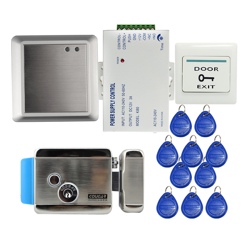 цены на Non-Keypad Waterproof Rfid Door Access Control Kit Set With Electric Control Lock + RFID keyfob In Stock FREE SHIPPING