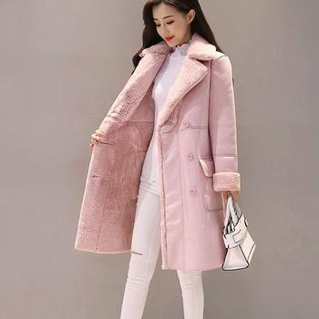 Новые зимние женские замшевые меховые пальто длинные двубортные тренчи женские толстые куртки женские из искусственной овчины ветровки