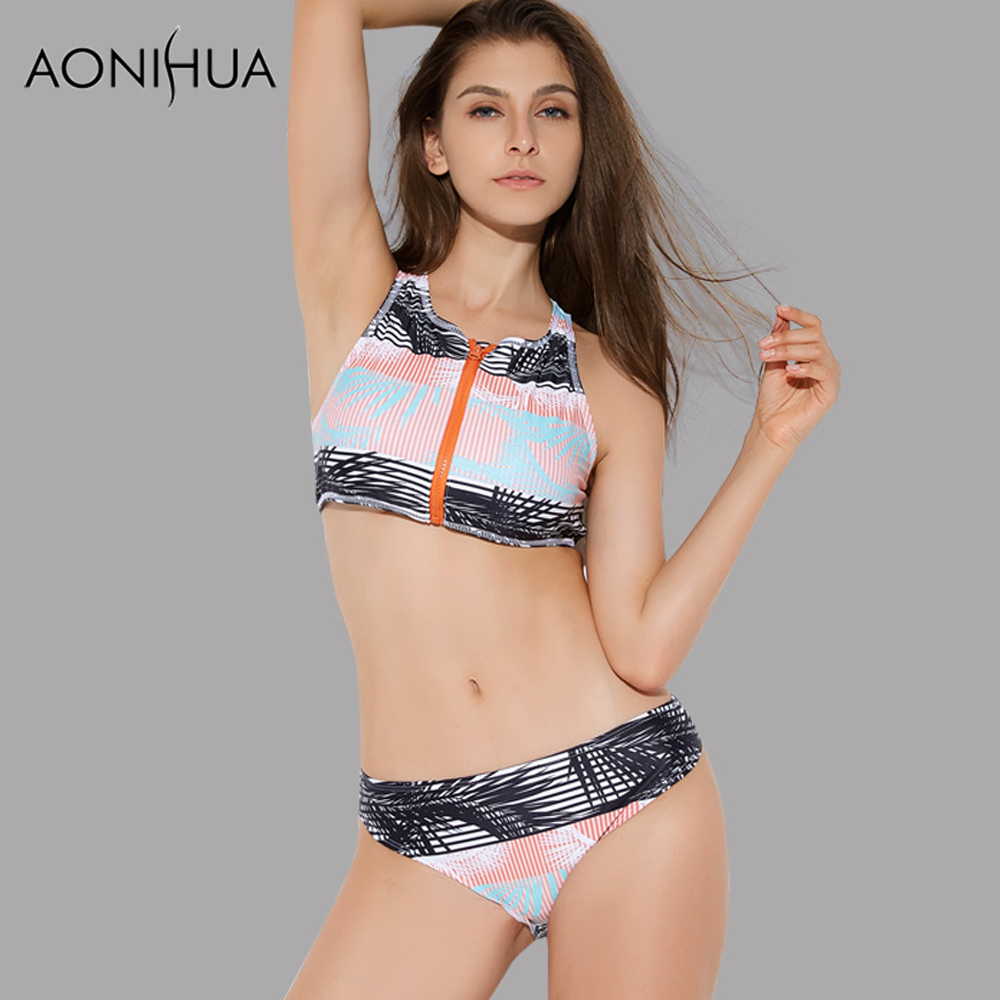 AONIHUA 2018 NEW brazilian Bikini set for Women Front zipper Vintage Retro Swimwear Push up Swimsuit Beach swimming suit 2152 in Bikinis Set from Sports Entertainment