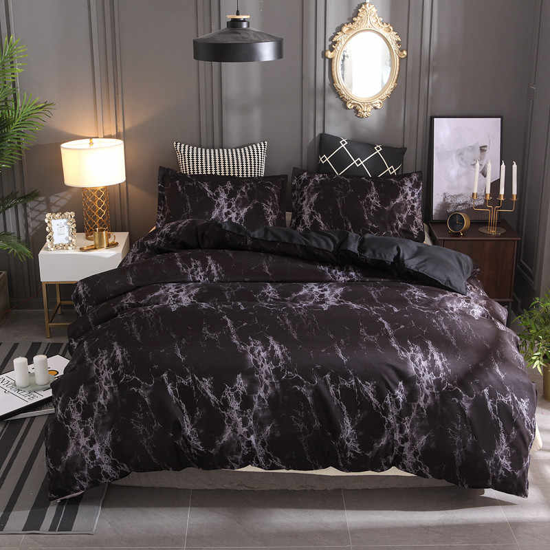 Black Marble Pattern Bedding Sets Duvet Cover Set 2/3pcs Bed Set Single Double Queen King Size White Quilt Cover  No Filling