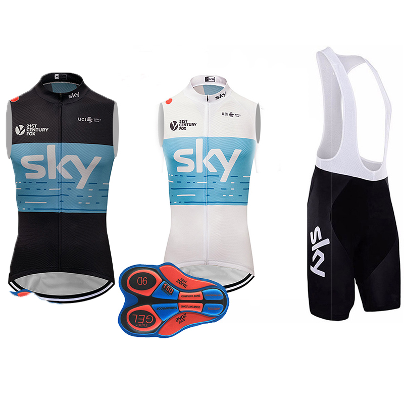 2018 sky Sleeveless Cycling JERSEY Bike Shorts set Ropa Ciclismo Mens Bicycle clothing summer pro team Cycling wear 9D GEL