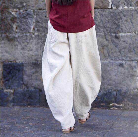 Новое поступление женские свободные Стильные брюки повседневные льняные брюки женские ретро брюки Широкие брюки