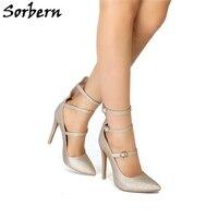 Sorbern Multi Пряжка Туфли с лентами Роскошные плюс размеры женская обувь высокий каблук «рюмочка» индивидуальный заказ дизайнерский бренд боти