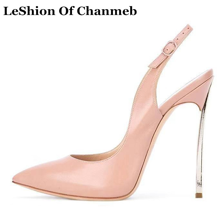 Fashion Buckled Strap Women Sling Back Pumps Nude Black Patent High Heel Shoes Women Sexy Close