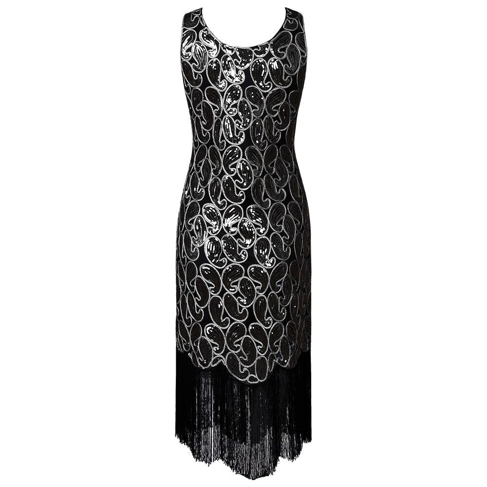 Dropwow Zmvkgsoa Vestidos Women Flapper Great Gatsby Fringe Beaded 1920s  Vintage Dresses Stunning Sleeveless Sequin Party Dress Y2076 2a33c4fe3822